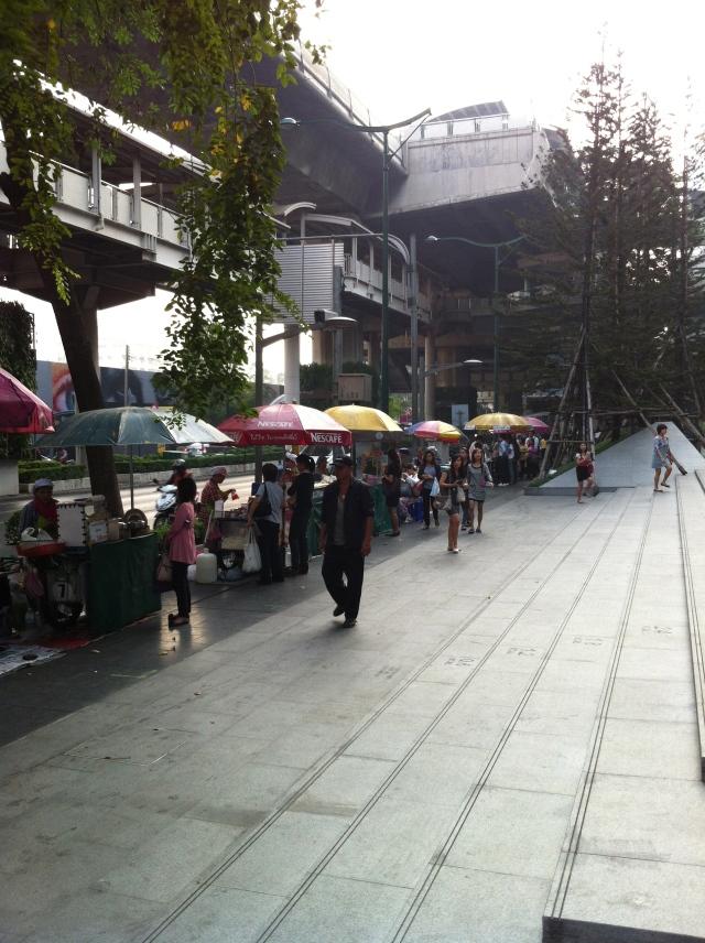 Street Food vender lineup at the Phloen Chit BTS